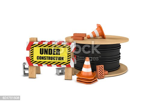 istock Rendering of wooden barrier with under construction sign, big cable 624751508
