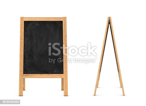 istock Rendering of wooden easel with black chalkboard isolated on the 623533050