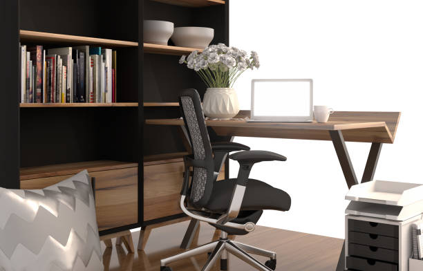 3D rendering of working space with shelf stock photo