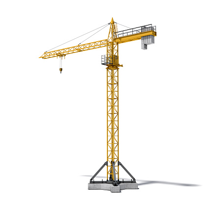3d rendering of a yellow construction crane, side view, isolated on the white background. House-building and reconstruction. Building machinery and construction equipment. Lifting equipment and transport.