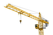 istock Rendering of yellow construction crane isolated on white background. 618202820