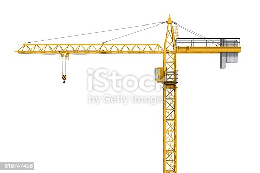 istock Rendering of yellow construction crane isolated on white background. 618747458