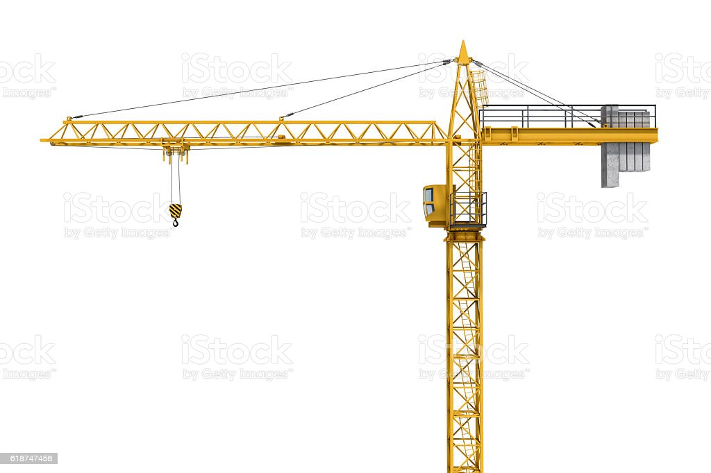 Rendering of yellow construction crane isolated on white background. – Foto