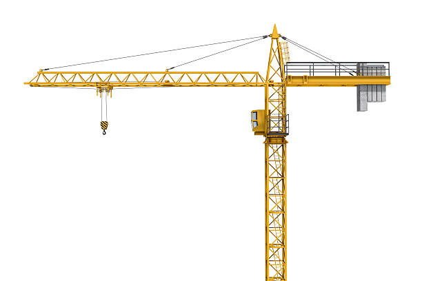 Rendering of yellow construction crane isolated on white background. stock photo