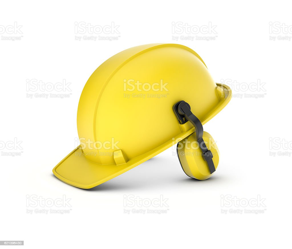 Rendering of yellow hard hat with headphones isolated on white stock photo