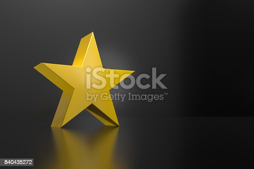 istock 3D Rendering Of Yellow Star On Black 840435272