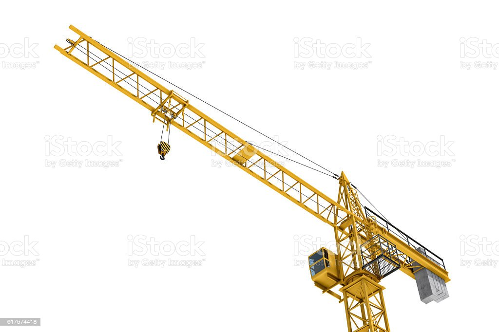 Rendering of yellow tower crane, bottom view, isolated on the stock photo