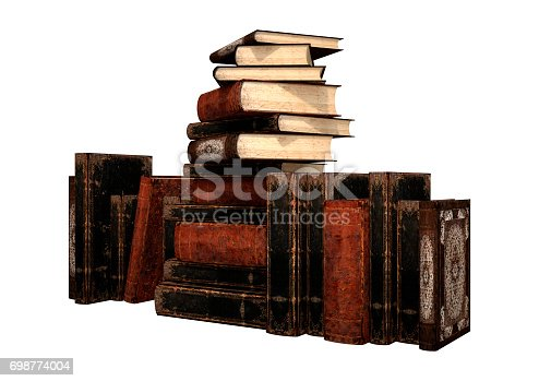 3D Illustration of old books isolated on white background