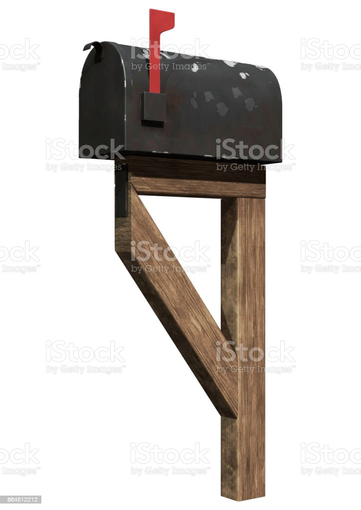 3D rendering old residential mailbox on white stock photo