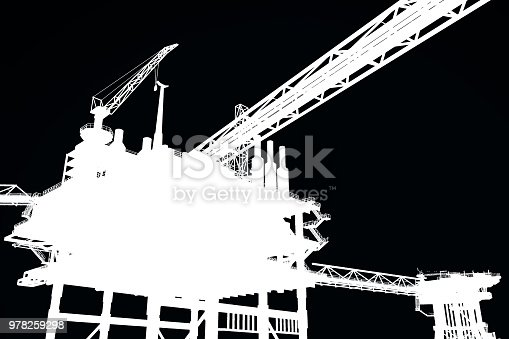 istock 3D rendering , Outline border black and white Oil rig constructtion plant,for edit picture. 978259298
