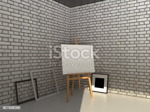istock 3D rendering painting mockup. 907938290