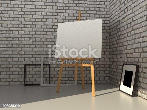 istock 3D rendering painting mockup. 907938320