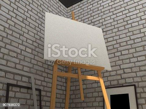 istock 3D rendering painting mockup. 907938370