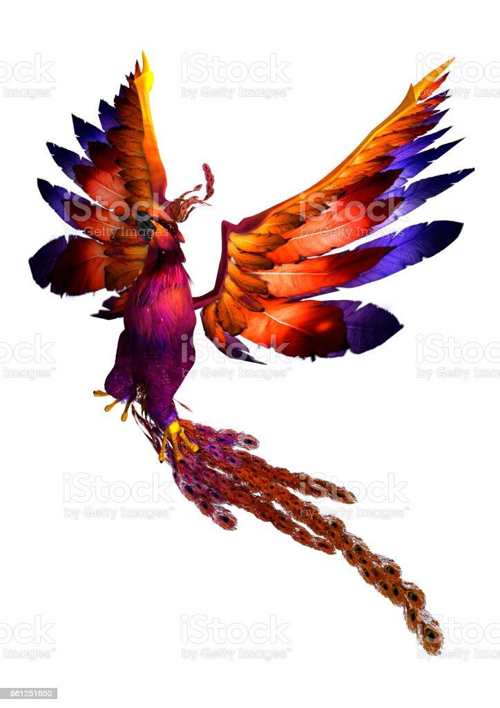 Phoenix de renderizado 3D sobre blanco - foto de stock