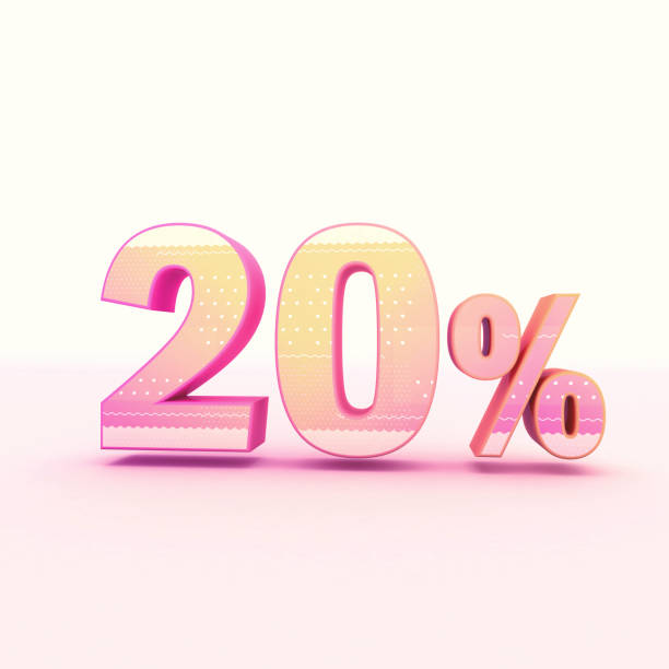 3D Rendering Pink and Yellow Color Percentage stock photo