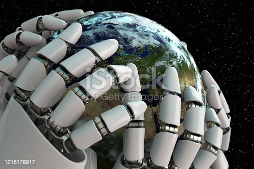 1008093204 istock photo 3D rendering Planet Earth covering robot hands isolated with clipping path on black background stock photo 1215176917