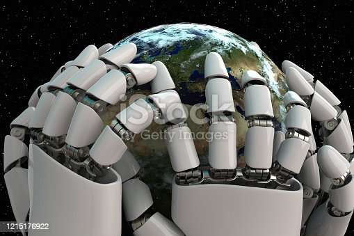 1008093204 istock photo 3D rendering Planet Earth covering robot hands isolated with clipping path on black background stock photo 1215176922