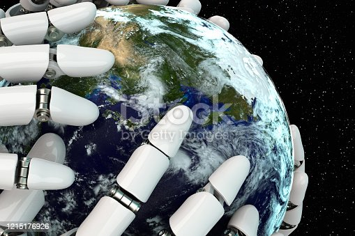 1008093204 istock photo 3D rendering Planet Earth covering robot hands isolated with clipping path on black background stock photo 1215176926