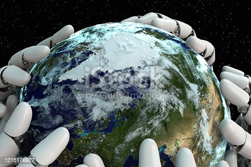 1008093204 istock photo 3D rendering Planet Earth covering robot hands isolated with clipping path on black background stock photo 1215176927