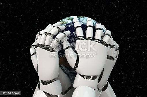 1008093204 istock photo 3D rendering Planet Earth covering robot hands isolated with clipping path on black background stock photo 1215177428