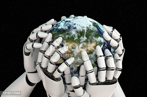 1008093204 istock photo 3D rendering Planet Earth covering robot hands isolated with clipping path on black background stock photo 1215177443