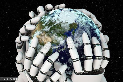 1008093204 istock photo 3D rendering Planet Earth covering robot hands isolated with clipping path on black background stock photo 1215177453