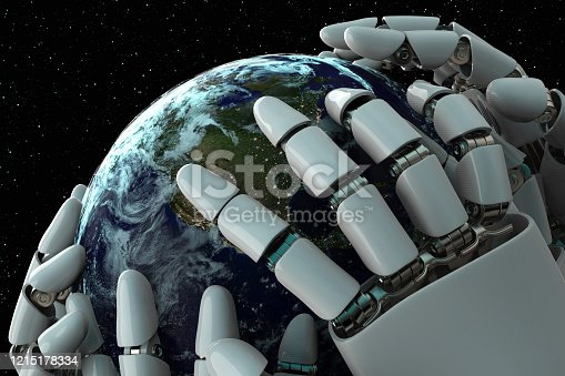 1008093204 istock photo 3D rendering Planet Earth covering robot hands isolated with clipping path on black background stock photo 1215178334