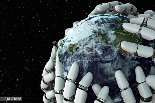 1008093204 istock photo 3D rendering Planet Earth covering robot hands isolated with clipping path on black background stock photo 1215178536