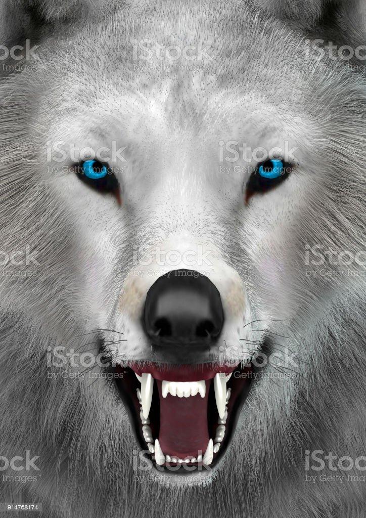 3D rendering polar wolf stock photo