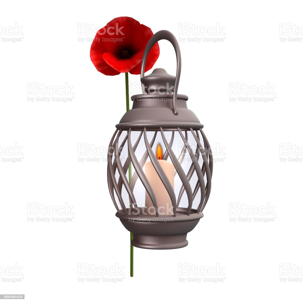 3D rendering poppy flower and candle lantern on white stock photo