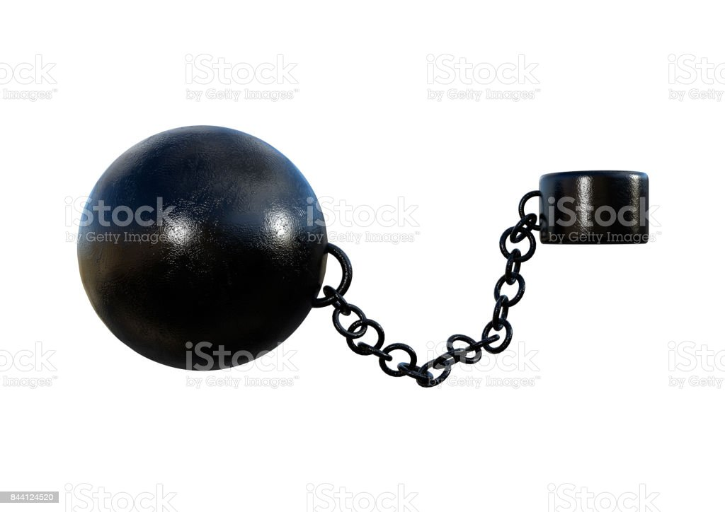 3d rendering prisoner ball and chain on white stock photo 844124520
