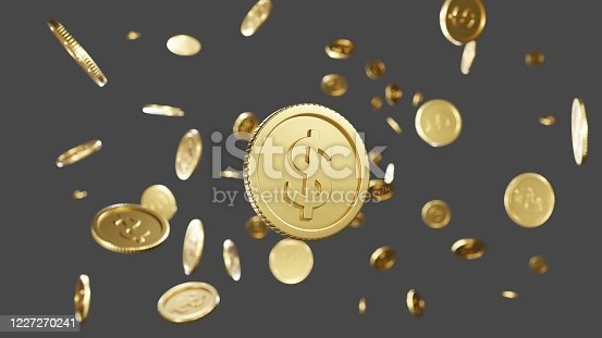 3D, Rendering. Realistic Gold coins explosion. Flying and Many gold dollar coins Floating in the air. There is space for the copy space. With a shallow depth of field.