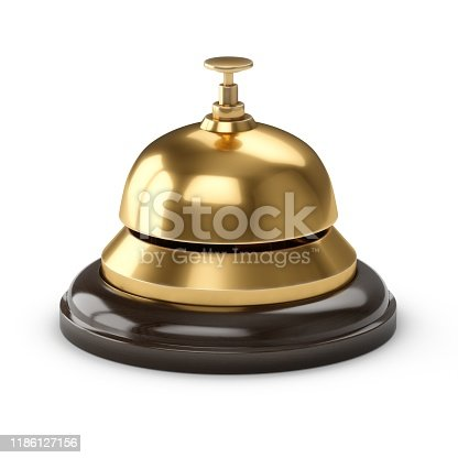 3D Rendering Reception bell isolated on white.