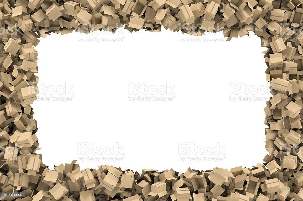 Rendering Rectangular Frame Made Of Light Beige Cardboard Mail Boxes