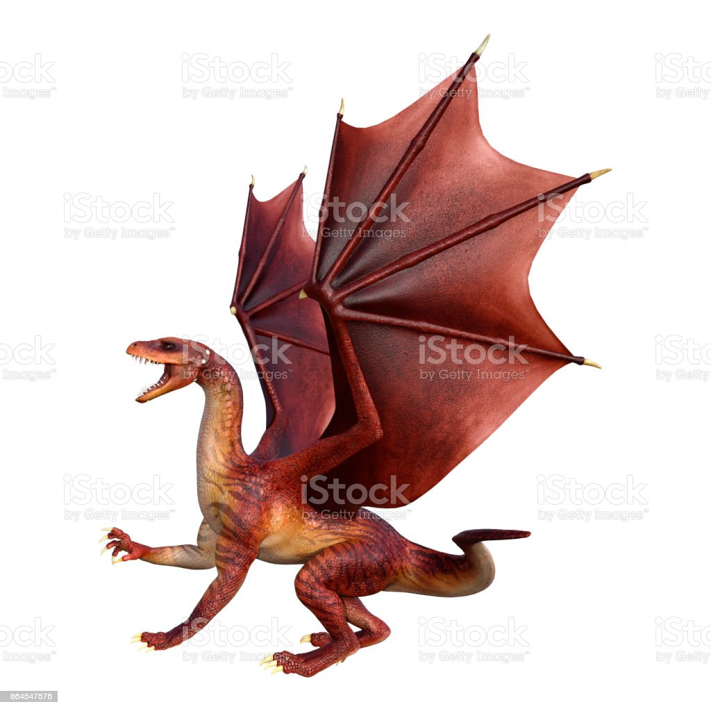 3D rendering red fantasy dragon on white stock photo