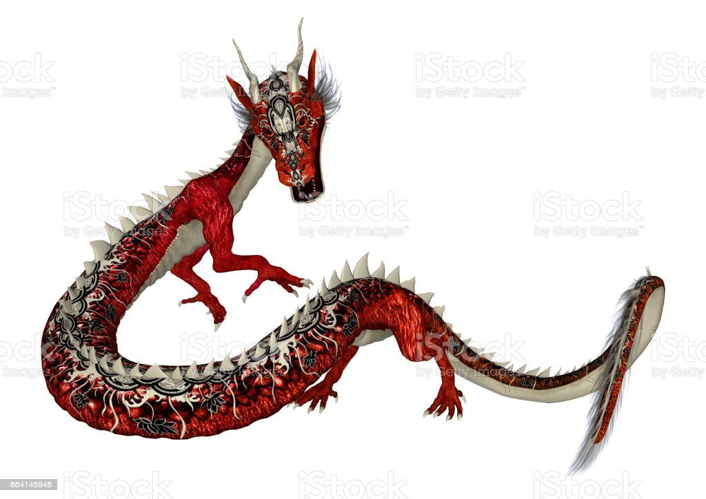 3D rendering red fantasy eastern dragon on white royalty-free stock photo