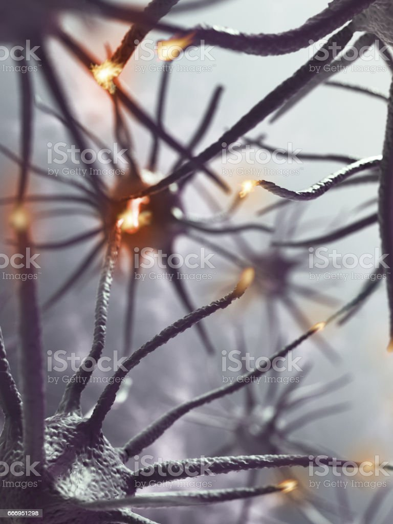 3D rendering representing interaction between brain neurons stock photo