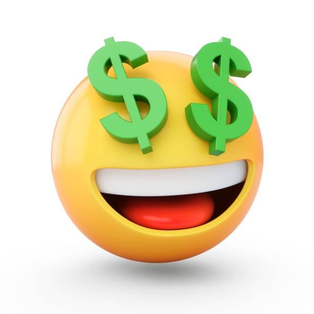 3D Rendering Rich Emoji isoliert auf weißem Hintergrund – Foto