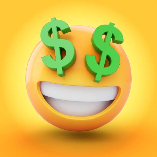 3D Rendering Rich Emoji isoliert auf gelbem Hintergrund – Foto