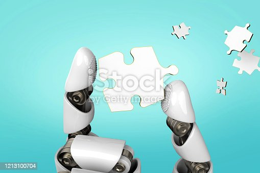 istock 3D rendering Robot hand with puzzle piece stock photo 1213100704