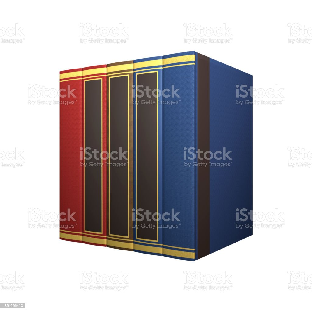 3D rendering row of books on white royalty-free stock photo