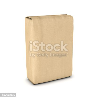 istock Rendering sack of cement isolated on white background 622033632