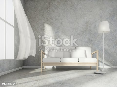 istock 3D rendering scene of minimal room style with wood sofa and white lamp and book on light grey concrete floor and wall,3d rendering 933461724