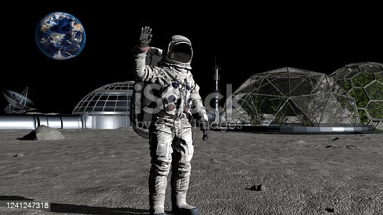 3D rendering. Sci-fi scene. The colony of the future on the moon. Astronaut walking on the moon. CG Animation. Elements of this image furnished by NASA. https://commons.wikimedia.org/wiki/File:Ocean-wind-atmosphere-ice-arctic-terrain-1123814-pxhere.jpg