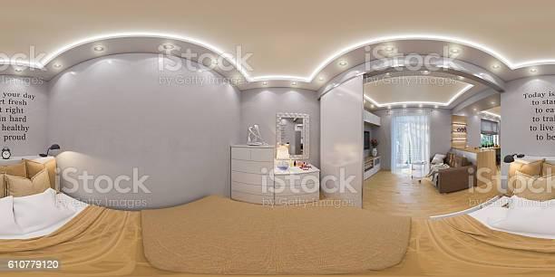 Rendering seamless panorama of bedroo picture id610779120?b=1&k=6&m=610779120&s=612x612&h=htzocbponajvwm4ibhh2ajlrvfjhzu tnsikkvnmuka=