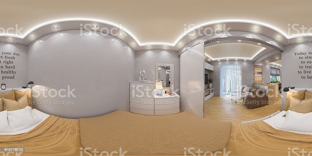 rendering seamless panorama of bedroo stock photo