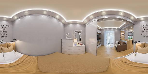 rendering seamless panorama of bedroo stock photo
