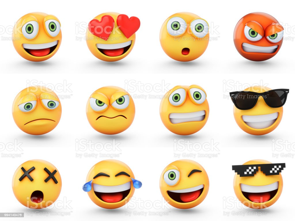 3D Rendering set of emoji isolated on white stock photo