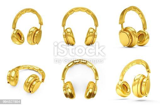 istock 3D Rendering Set of Golden headphones isolated on white background 994527854