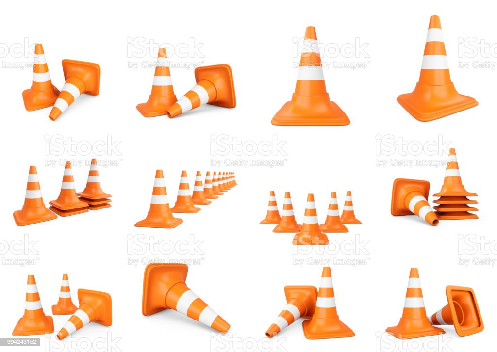 3D rendering set of traffic cones isolated on white background.